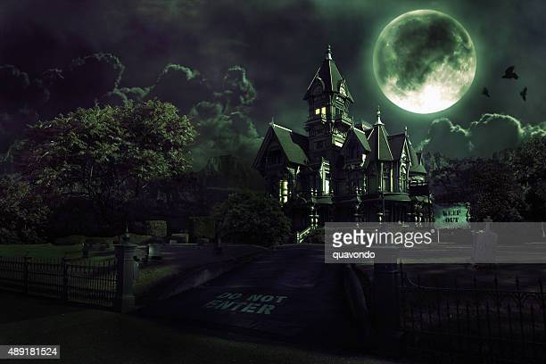 haunted house - happy halloween stock photos and pictures