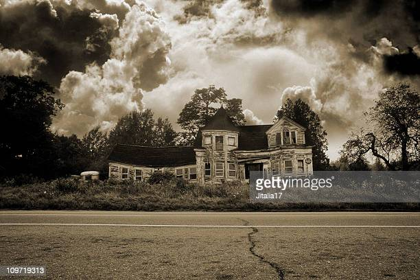 Haunted House With Ominous Clouds