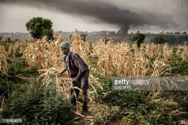 A Hausa Fulani farmer works at a farm in the outskirts of Sokoto Sokoto State Nigeria on April 22 2019 Massive expansion of farming in Nigeria has...