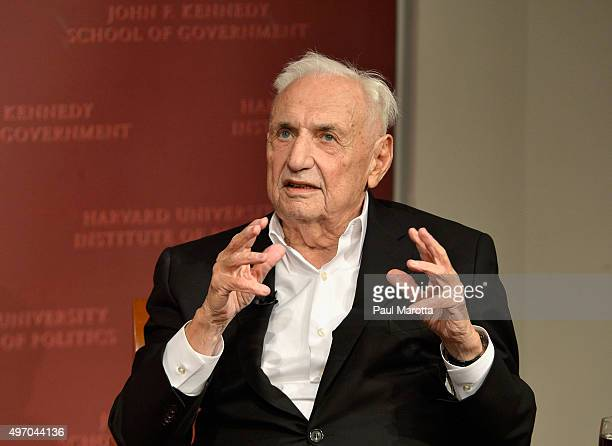 """Hauser Leader-in-Residence and Los Angeles Philharmonic President and CEO Deborah Borda moderates """"A Conversation with Architect Frank Gehry"""" at..."""