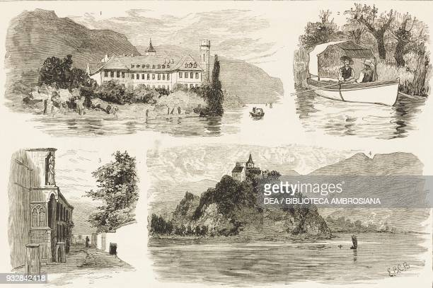 1 Haute Combe Abbey 2 Boatmen 3 Entrance to Haute Combe Abbey 4 Castle Lake of Bourget AixlesBains France illustration from the magazine The Graphic...