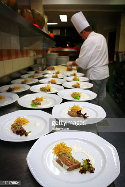 haute cuisine chef preparing  appetizer