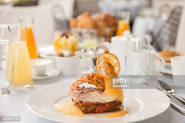 Haute Cuisine, Loup de mer, Sea bass, Prawn, Lobster mousse, Tempura and ratatouille on plate