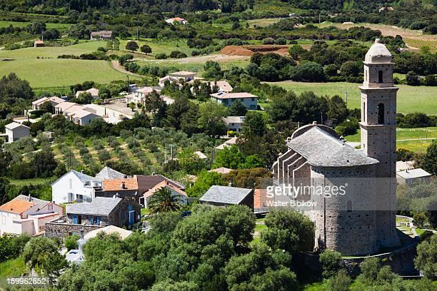 haute-corse, corsica, town view - corsica stock-fotos und bilder