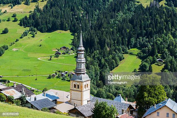 hauteluce, view of the village - savoie stock pictures, royalty-free photos & images