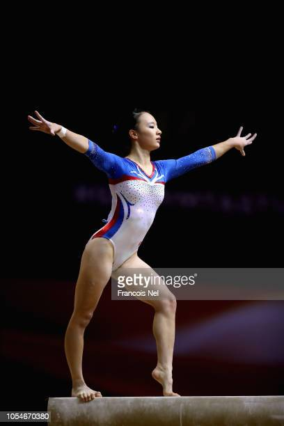 HauTien Ting competes in the Women's Balance Beam Qualification during day four of the 2018 FIG Artistic Gymnastics Championships at Aspire Dome on...