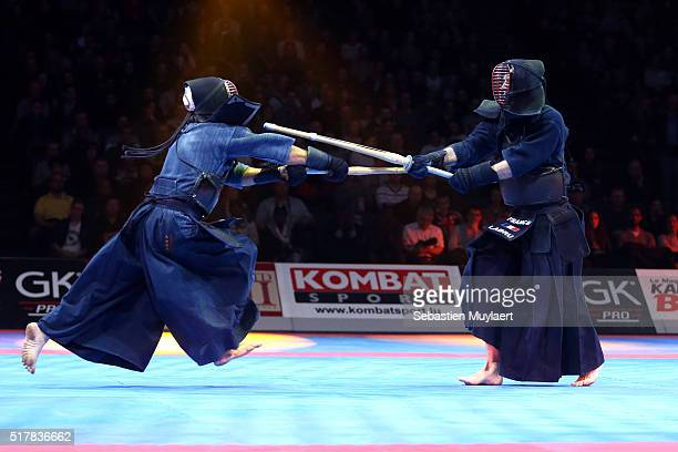 Hauts grades du comite national du kendo practicing kendo during the Arts Martial Festival on March 26 2016 in the Accor Hotel Arena in Paris France