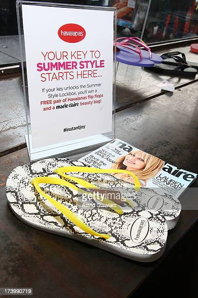 1147944c48d74 Havaianas are displayed during the Havaianas Marie Claire Summer KickOff  Event on July 18 2013 in