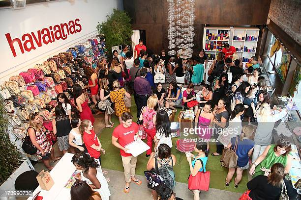 Havaianas are displayed during the Havaianas Marie Claire Summer KickOff Event on July 18 2013 in New York City