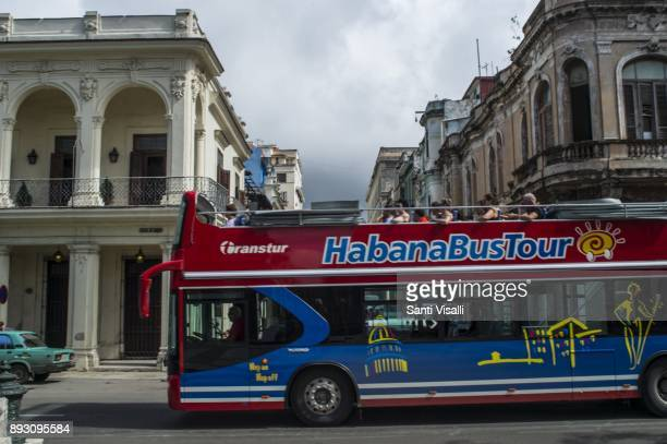 Havana architecture with Habanabus on November 10 2017 in Havana Cuba