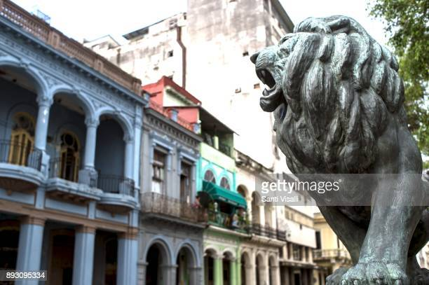 Havana architecture with lion on November 10 2017 in Havana Cuba