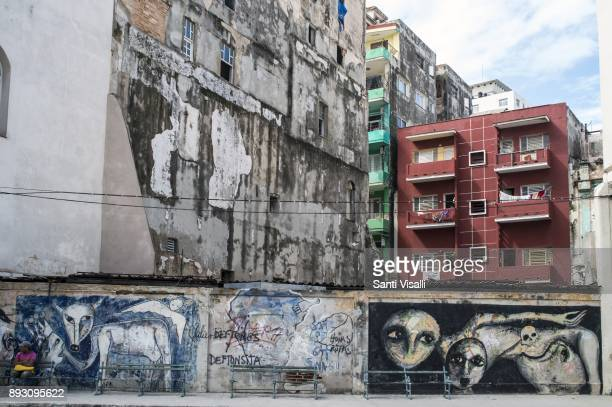Havana architecture with mural on November 10 2017 in Havana Cuba