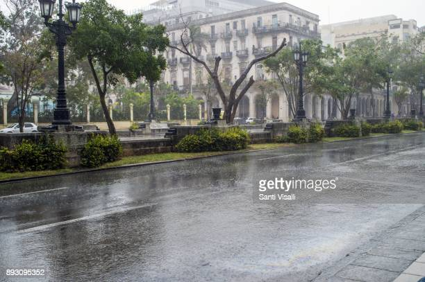 Havana architecture with rain on November 10 2017 in Havana Cuba