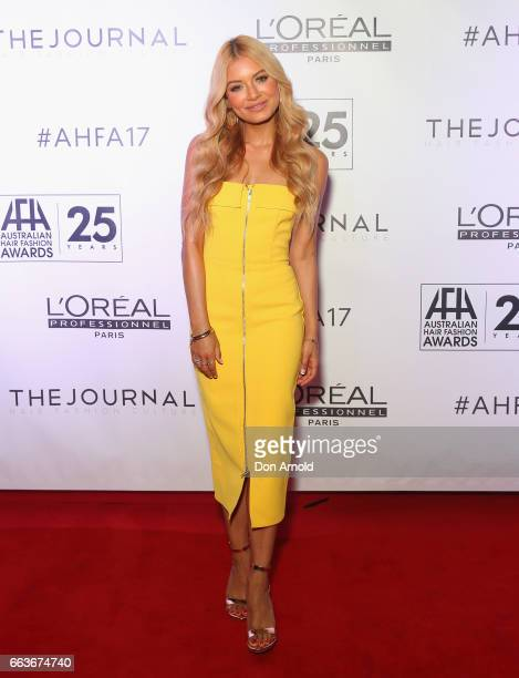 Havana Brown arrives at the 2017 Australian Hair Fashion Awards at Luna Park on April 2 2017 in Sydney Australia