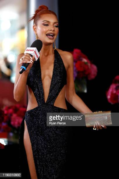Havana Brown is interviewed by Kent 'Smallzy' Small during the 33rd Annual ARIA Awards 2019 at The Star on November 27 2019 in Sydney Australia