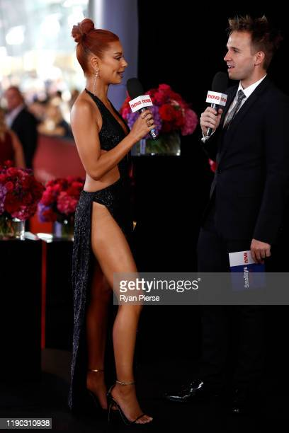 Havana Brown is interviewed by Kent 'Smallzy' Small during the 33rd Annual ARIA Awards 2019 at The Star on November 27, 2019 in Sydney, Australia.