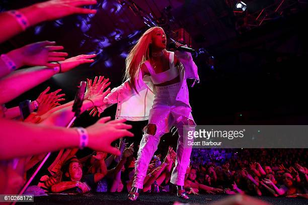 Havana Brown performs during the Nickelodeon Slimefest 2016 matinee show at Margaret Court Arena on September 25 2016 in Melbourne Australia