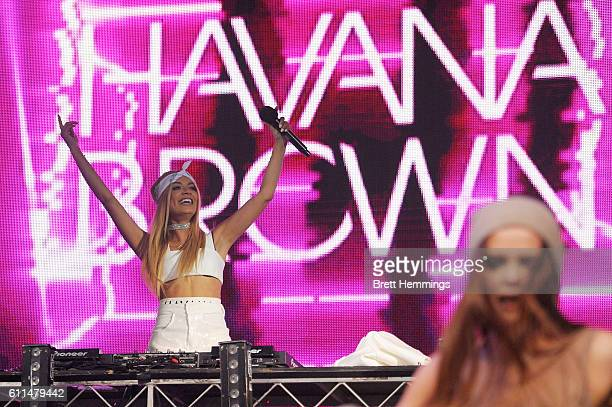 Havana Brown performs during the Nickelodeon Slimefest 2016 matinee show at Sydney Olympic Park Sports Centre on September 30 2016 in Sydney Australia