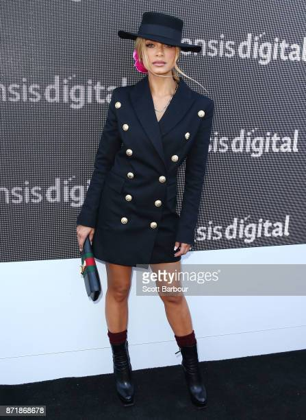 Havana Brown poses at the Sensis Marquee on Oaks Day at Flemington Racecourse on November 9 2017 in Melbourne Australia