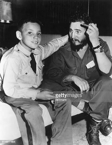 Fidel Castro Cuban President wiht his son Fidelito in the Hotel Hilton in Havana Phtograph ca 1959