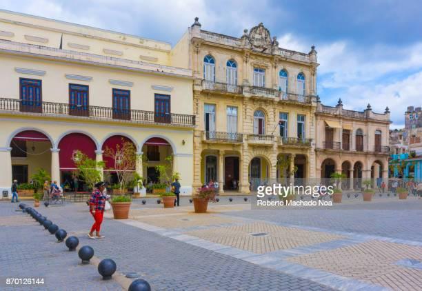 Havana, Cuba: Old plaza or 'Plaza Vieja' colonial buildings facades