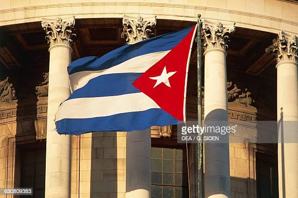 Havana Cuban flag Capitol Havana Cuba