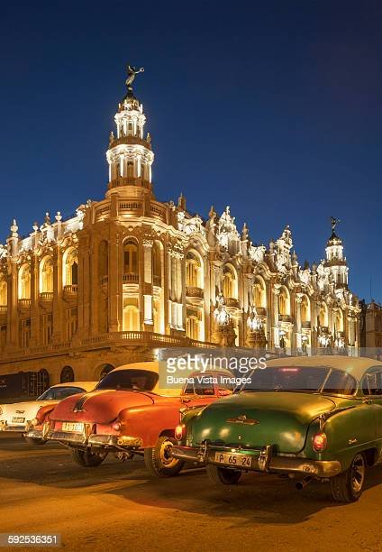 havana. old cars and grand theater - old havana stock pictures, royalty-free photos & images