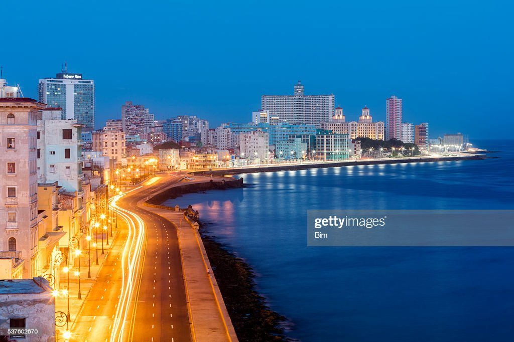 Havana Skyline with Malecon Illuminated at Early Morning, Cuba : Stock Photo