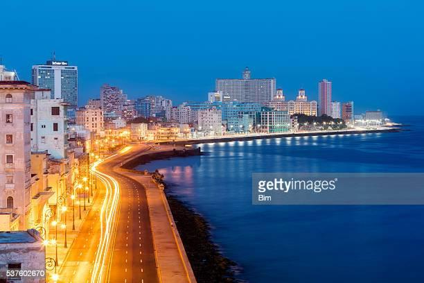 Havana Skyline with Malecon Illuminated at Early Morning, Cuba