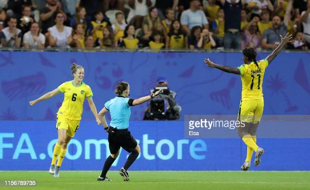 Havana Solaun of Jamaica celebrates after scoring her team's first goal during the 2019 FIFA Women's World Cup France group C match between Jamaica...
