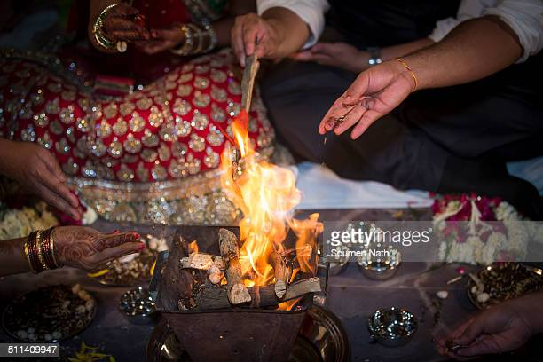 The Hindu Wedding Rituals Offering to the Fire God