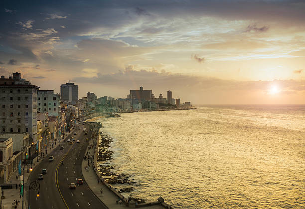 Havana. View Of El Malecon At Sunset Wall Art