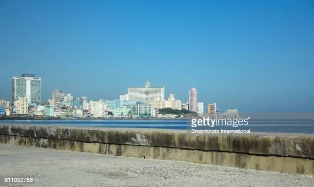 Havana's skyline with Vedado district skyscrapers, sea wall promenade and harbor, Cuba