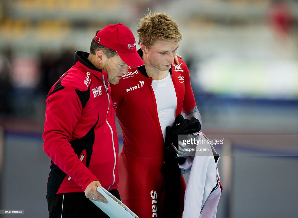 Havard Bokko (R) of Norway is comforted after abandoning his 5000m race on day two of the Essent ISU World Single Distances Speed Skating Championships at the Adler Arena Skating Center on March 22, 2013 in Sochi, Russia.