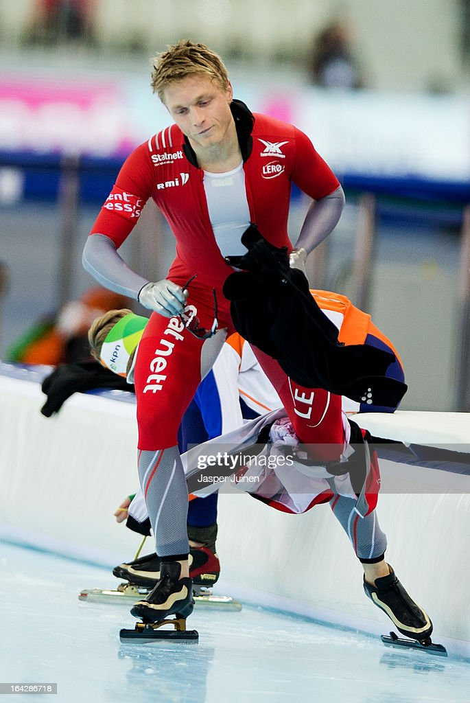 Havard Bokko of Norway reacts after abandoning his 5000m race on day two of the Essent ISU World Single Distances Speed Skating Championships at the Adler Arena Skating Center on March 22, 2013 in Sochi, Russia.