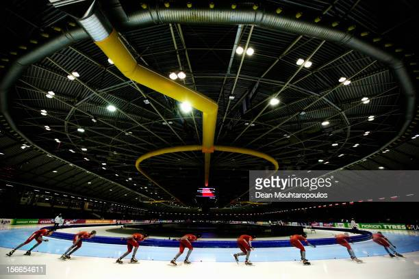 FRAMES Havard H Lorentzen of Norway competes in the Division B 1500m Men on the final day of the Essent ISU World Cup Speed Skating at Thialf Ice...