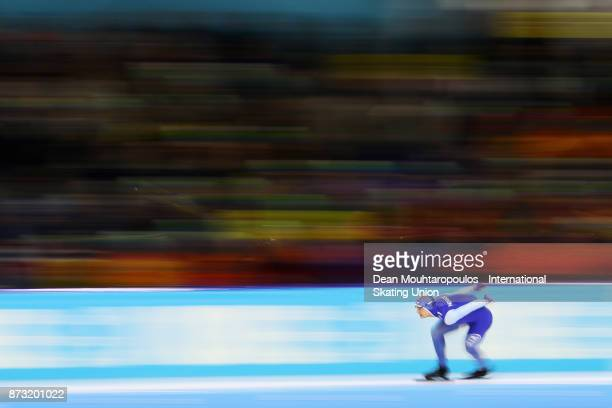 Havard Holmefjord Lorentzen of Norway competes in the 1000m Mens race on day three during the ISU World Cup Speed Skating held at Thialf on November...