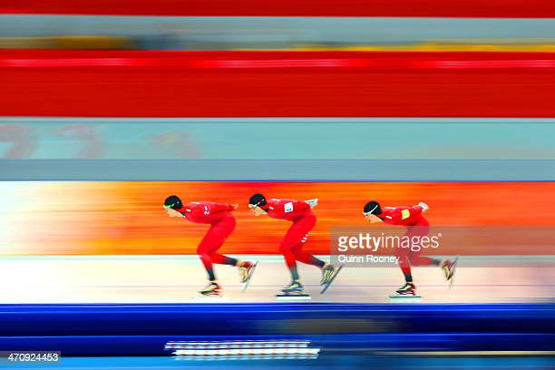 Havard Lorentzen, Havard Bokko and Sverre Lunde Pedersen of Norway compete during the Men's Team Pursuit Quarterfinals Speed Skating event on day...
