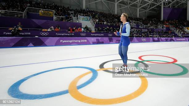 Havard Lorentzen of Norway celebrates setting an Olympic record during the Men's 500m Speed Skating on day 10 of the PyeongChang 2018 Winter Olympic...
