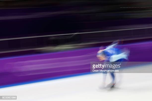 Havard Lorentzen of Norway competes during the Speed Skating Men's 1000m on day 14 of the PyeongChang 2018 Winter Olympic Games at Gangneung Oval on...