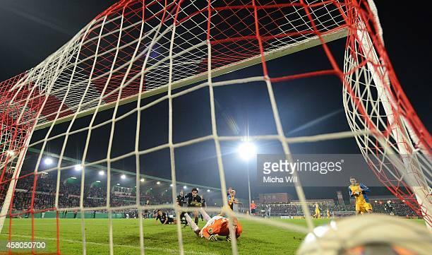 Havard Nielsen of Braunschweig scores the opening goal during the DFB Cup second round match between Wuerzburger Kickers and Eintracht Braunschweig...