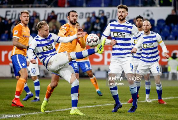 Havard Nielsen of Duisburg kicks the ball during the Second Bundesliga match between MSV Duisburg and SV Darmstadt 98 at SchauinslandReisenArena on...