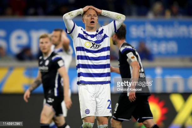 Havard Nielsen of Duisburg looks dejected during the Second Bundesliga match between MSV Duisburg and DSC Arminia Bielefeld at...