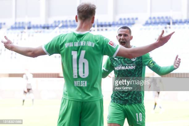 Havard Nielsen of Greuther Fürth celebrates his team's second goal with teammate Havard Nielsen during the Second Bundesliga match between SC...