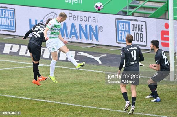 Havard Nielsen of SpVgg Greuther Furth scores their side's first goal during the Second Bundesliga match between SpVgg Greuther Fuerth and 1. FC...