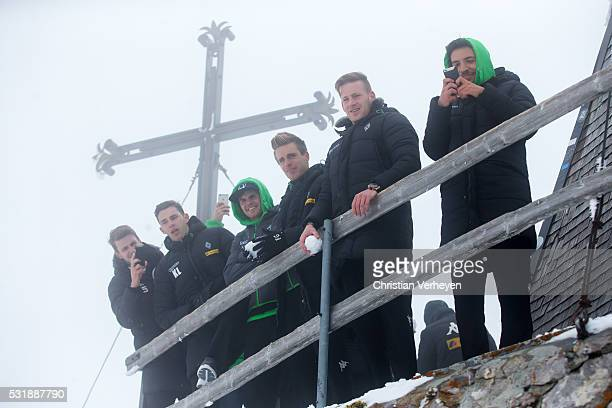 Havard Nordtveit Branimir Hrgota Jonas Hofmann Patrick Herrmann Andre Hahn Julian Korb during their visit to the mountain Pilatus on day two of...