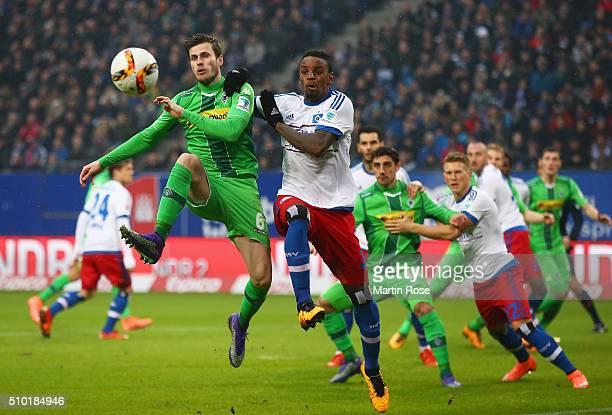 Havard Nordtveit of Borussia Moenchengladbach and Cleber of SV Hamburg battle for the ball during the Bundesliga match between Hamburger SV and...