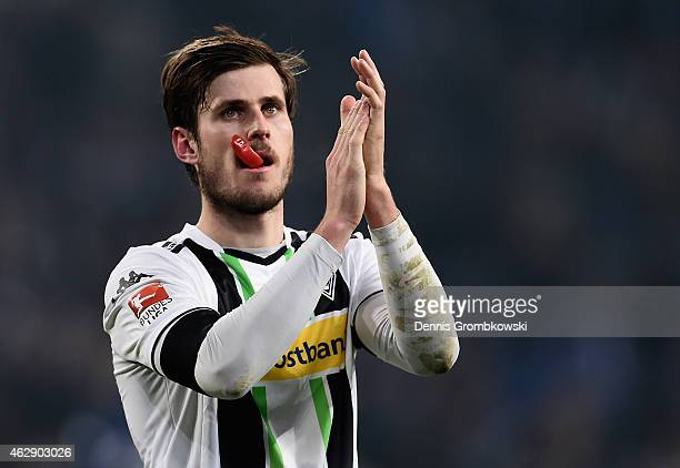 Havard Nordtveit of Borussia Moenchengladbach looks dejected after the Bundesliga match between FC Schalke 04 and Borussia Moenchengladbach at...