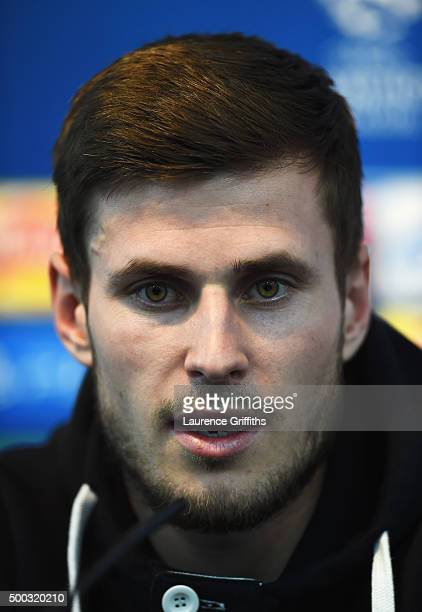 Havard Nordtveit of Borussia Moenchengladbach talks during a VfL Borussia Moenchengladbach press conference prior to the UEFA Champions League match...