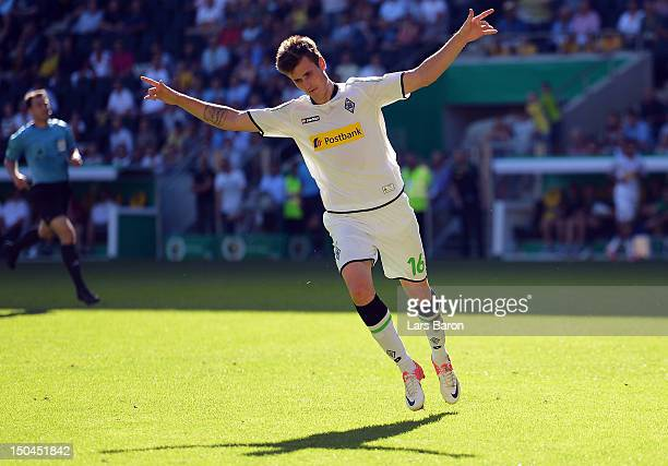 Havard Nordtveit of Moenchengladbach celebrates after scoring his teams second goal during the first round match of the DFB Cup between Alemannia...